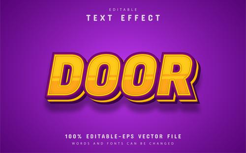 Door font text effect editable vector