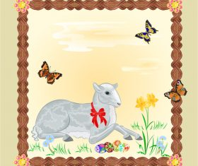 Easter Lamb frame vector
