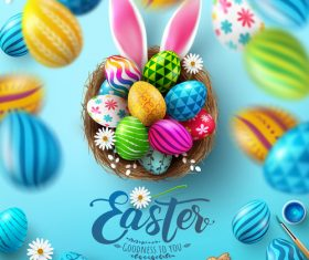 Easter background card vector with easter eggs in basket