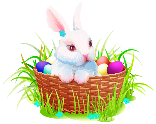 Easter background with bunny and eggs in the basket vector