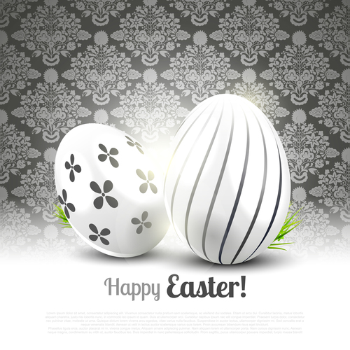 Easter black white luxury greeting card vector