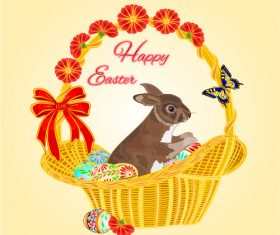 Easter bunny in a basket with Easter eggs vector