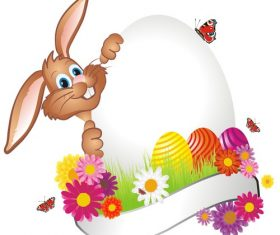 Easter card vector with bunny hiding behind egg