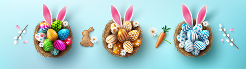Easter eggs banners in different colors vector