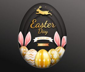 Easter golden egg background vector