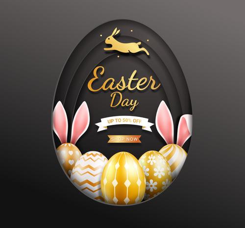 Easter golden egg background vector