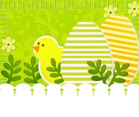 Easter greeting card cartoon illustration vector