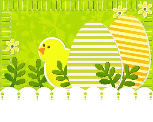 Easter greeting card cartoon illustration vector