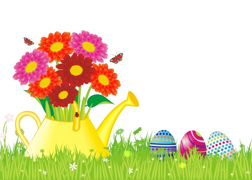 Easter greeting card vector with flowers egg