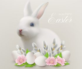 Easter realistic bunny and flowers greeting card vector