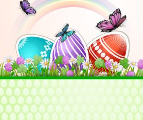 Easter tricolor egg background vector