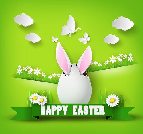 Easter tricolor egg background vector