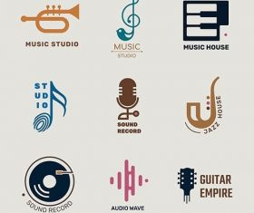Editable flat music vector logo design set