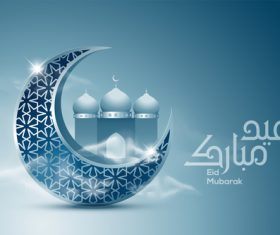 Eid Mubarak crescent background card vector