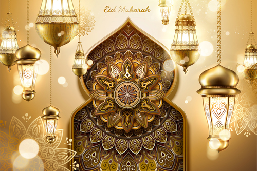Elegant Eid mubarak card vector