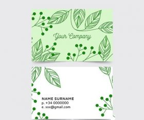 Elegant business card with nature concept vector