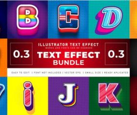 English alphabet 3d effect text design vector