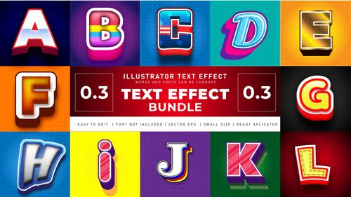 English alphabet 3d effect text design vector
