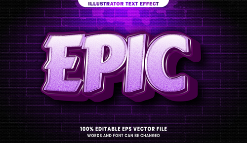 Epic 3d editable text style effect vector