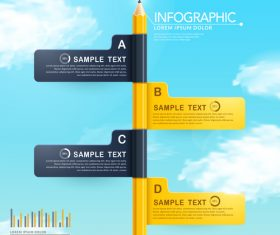 Erected pencil infographic concept vector