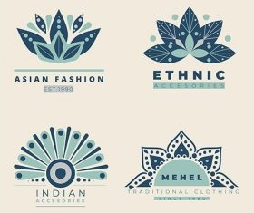 Etnic flat fashion logo set vector