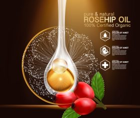 Extract essence rosehip oil vector
