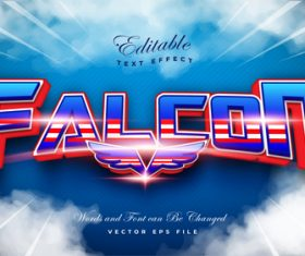 Falcon 3d editable font text effect vector