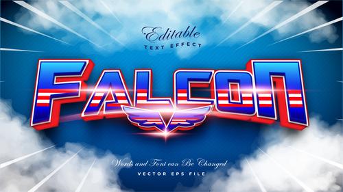 Falcon 3d editable font text effect vector