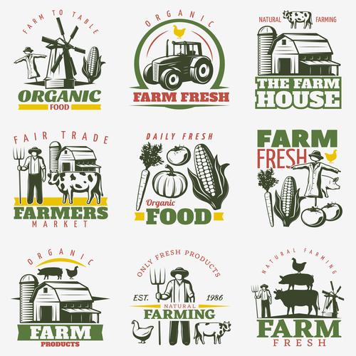Farm logos design vector