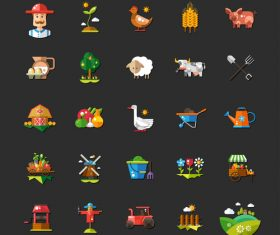 Farm modern vector flat design icons