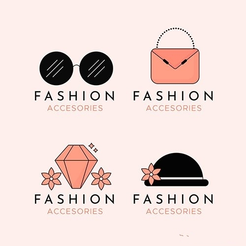 Fashion accessories logo pack vector