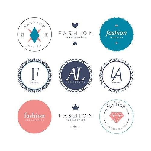 Fashion accessories logo set vector