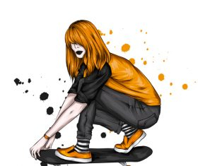 Fashion girl skateboarding vector
