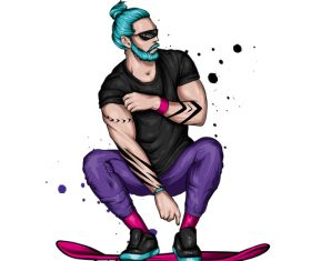 Fashion skateboarding man vector