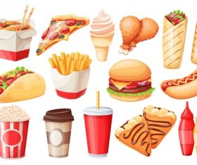 Fast food icons for design vector