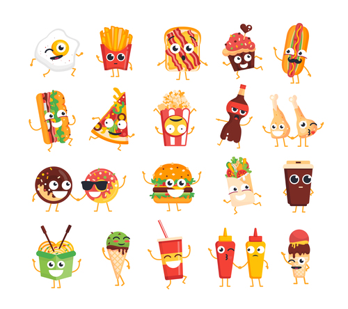 Fast food vector set of characters