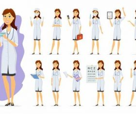 Female doctor and female nurse cartoon vector