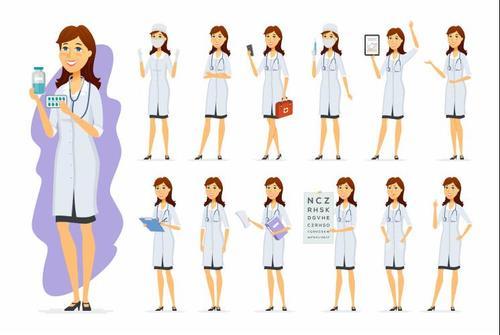 Female doctor and female nurse cartoon vector