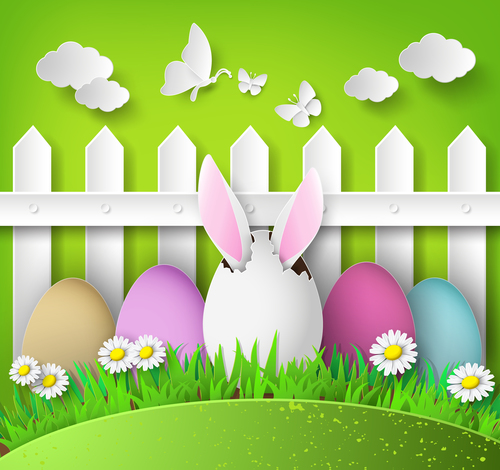 Fence and easter vector illustration cut from paper