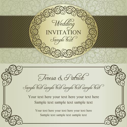Festive wedding vector invitation card