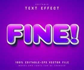 Fine text purple cartoon text effect vector