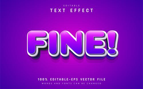 Fine text purple cartoon text effect vector