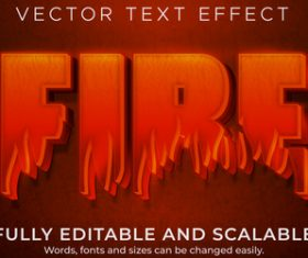 Fire 3d effect text design vector