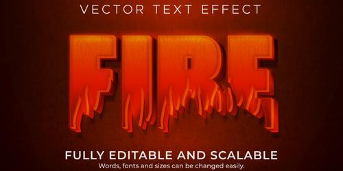 Fire 3d effect text design vector