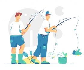 Fishermen graphic design vector
