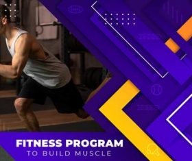 Fitness program youtube template vector