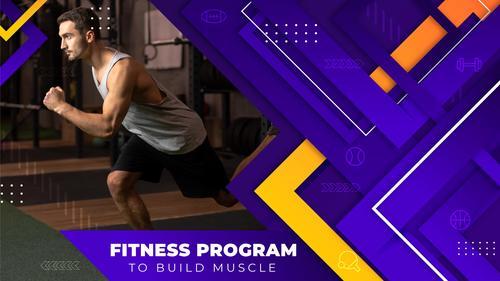 Fitness program youtube template vector