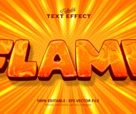 Flame 3d effect text design vector