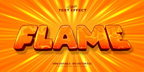 Flame 3d effect text design vector