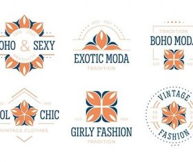 Flat design fashion accessories logo collection vector